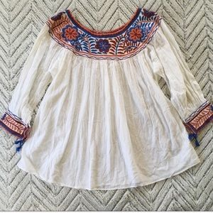 NWOT Matta Embroidered Gauze Swing Top OS